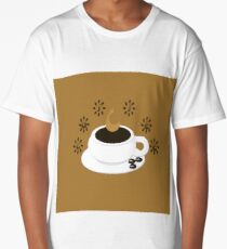 A coffee cup with coffee beans and text Coffee Long T-Shirt
