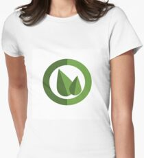 Two leaves in a circle emblem vector illustration Women's Fitted T-Shirt