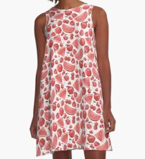 Juicy Red Fruits A-Line Dress
