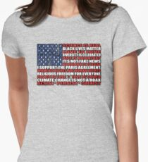 Political Protest American Flag Women's Fitted T-Shirt