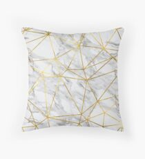 Marble Geometric Gold Lines Design Throw Pillow
