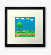 A meadow of flowers with a pine tree and sky and clouds Framed Print