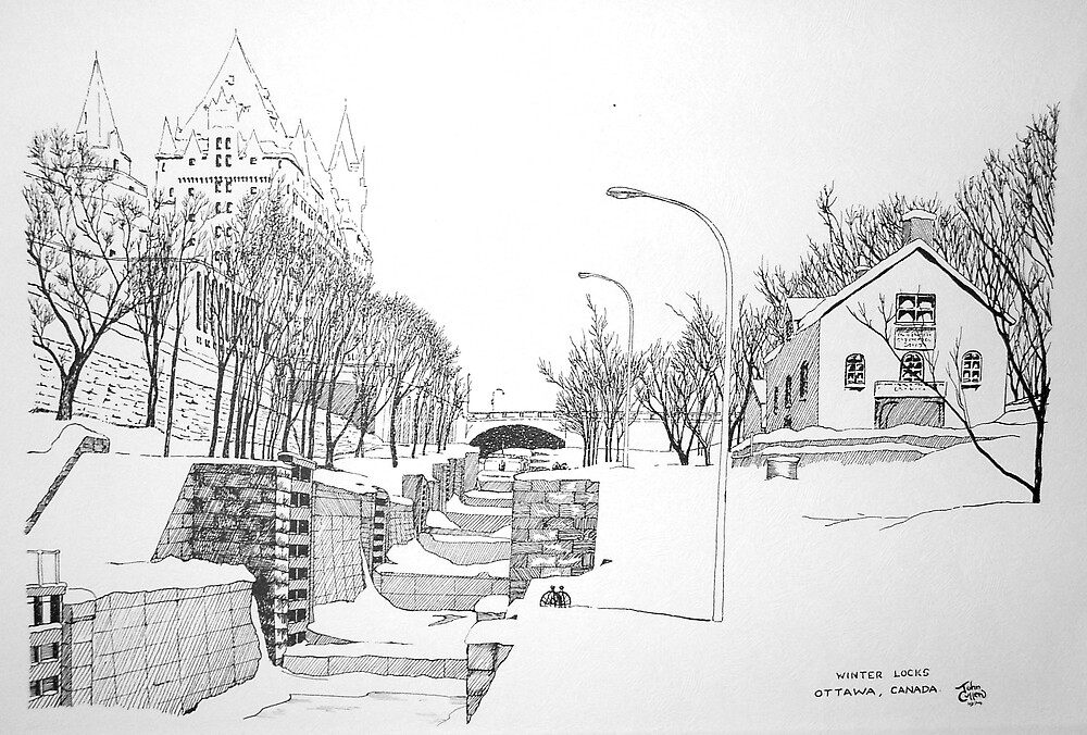 Winter Locks, Ottawa 1971 by John W. Cullen