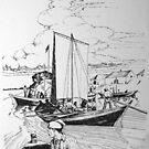 York Boats Norway House,Canada 1867 by John W. Cullen