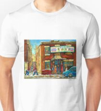 HOCKEY GAME NEAR THE FAIRMOUNT BAGEL MONTREAL  Unisex T-Shirt