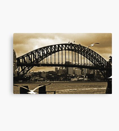 Sydney Harbour Bridge In Sepia Canvas Print
