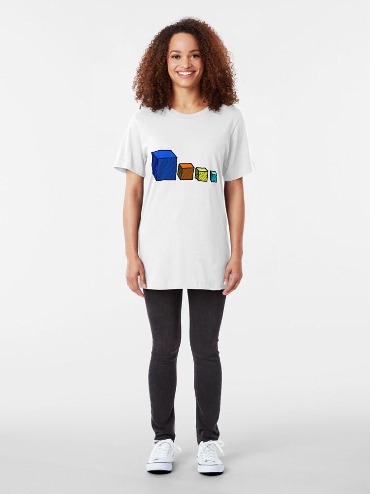 Vista alternativa de Camiseta ajustada Reino del Dios Loco - Cubos de Dios Cubo
