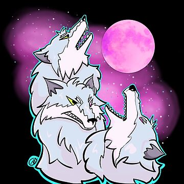 Three Cyber Wolves Howl at Shining Moon by mochipanda