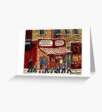 AFTER THE HOCKEY GAME SCHWARTZ'S DELI MONTREAL WINTER SCENE Greeting Card