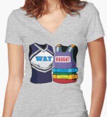 WayHaught Wynonna Earp Regenbogen Westen Tailliertes T-Shirt mit V-Ausschnitt