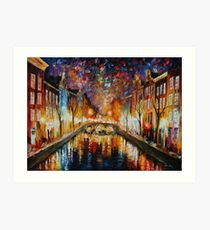 NIGHT AMSTERDAM limited edition giclee of L.AFREMOV painting Art Print