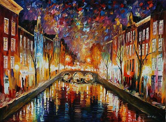 NIGHT AMSTERDAM limited edition giclee of L.AFREMOV painting by LeonidAfremov
