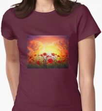Red Poppy Sunset Women's Fitted T-Shirt