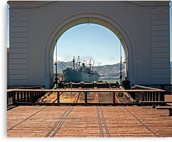 SS Jeremiah O'Brien seen through the Pier 43 Ferry Arch by Buckwhite