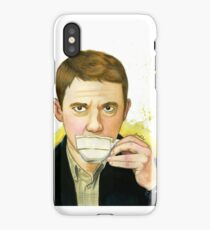 A cup of tea with John Watson iPhone Case/Skin