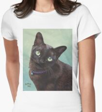 Black Burmese Cat Moose - Rectangle Women's Fitted T-Shirt