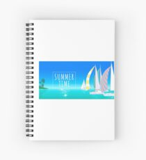Yachts go to the tropical island. Spiral Notebook