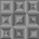 Square Optical Illusion Black And White by artsandsoul