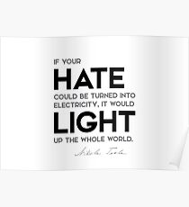 hate, light the world - nikola tesla Poster