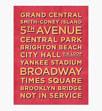 New York Train Stations Retro Vintage - Yellow on Red Photographic Print