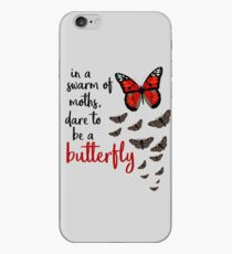 In a swarm of moths, dare to be a butterfly iPhone Case