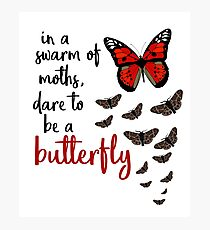 In a swarm of moths, dare to be a butterfly Photographic Print