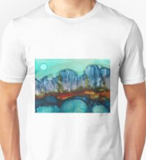 Abstract rock mountain landscape in alcohol inks Unisex T-Shirt
