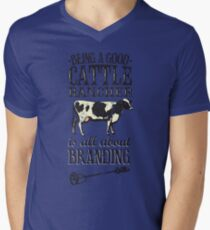 Being a Good Cattle Rancher is all about Branding Men's V-Neck T-Shirt