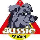 Aussie On Board - Blue Merle by DoggyGraphics