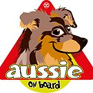 Aussie On Board - Brown Merle Tan by DoggyGraphics