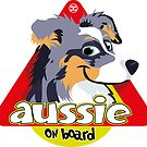 Aussie On Board - Ble Merle Tricolor by DoggyGraphics