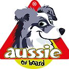 Aussie On Board - Blue Merle White by DoggyGraphics