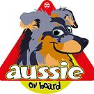 Aussie On Board - Blue Merle Tan by DoggyGraphics