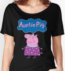 Camiseta ancha para mujer Peppa Pig, Auntie Pig, Tía Pig