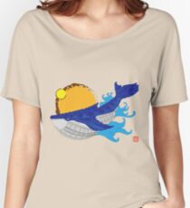 Whale 001 in Blue Women's Relaxed Fit T-Shirt