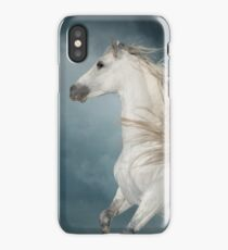 andalusian stallion rears in the dust with stormy skies behind iPhone Case