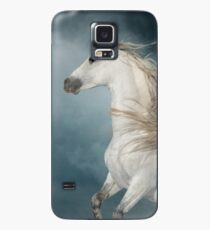 andalusian stallion rears in the dust with stormy skies behind Case/Skin for Samsung Galaxy