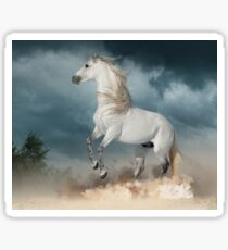 andalusian stallion rears in the dust with stormy skies behind Sticker