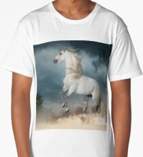 andalusian stallion rears in the dust with stormy skies behind Long T-Shirt