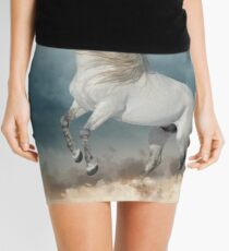 andalusian stallion rears in the dust with stormy skies behind Mini Skirt