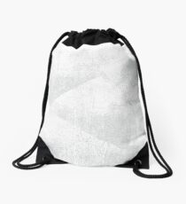 White and Gray Geometric Lino-Textured Print   Drawstring Bag