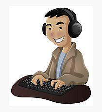 Computer Man Caricature #5 - Teenager Guy Photographic Print