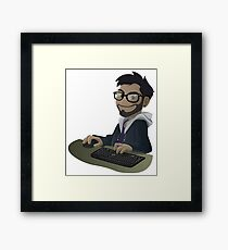 Computer Man Caricature #7 - Brown Guy w/ Glasses Framed Print