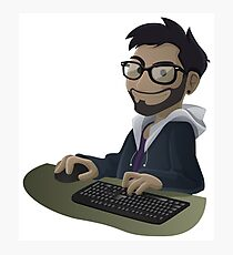 Computer Man Caricature #7 - Brown Guy w/ Glasses Photographic Print