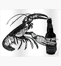 Beer Drinking Lobster Funny Craft Beer Poster