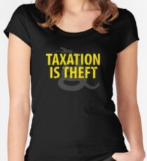Being Libertarian , Taxation Is Theft Women's Fitted Scoop T-Shirt