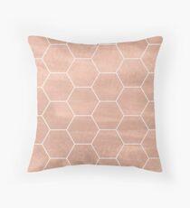 Rose Gold & White Pattern Throw Pillow