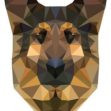 Geometric Low Poly German Shepherd by kay-la-vie