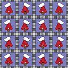 Red White Bonnet Girl Quilt by labreject