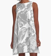 Grey seashells pattern A-Line Dress